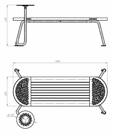 Bench«Tubes»–1 table