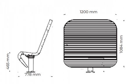 "Bench ""Techno""(swivel, a double one with a canopy, without an embedded plate)"
